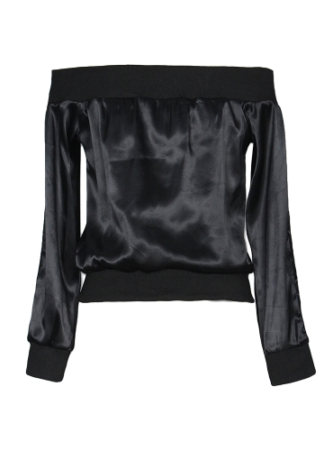 Women Off Shoulder Satin Jacket Zipper Front Eyelet Hollow Out Long Sleeves Coat Outerwear BlackApparel &amp; Jewelry<br>Women Off Shoulder Satin Jacket Zipper Front Eyelet Hollow Out Long Sleeves Coat Outerwear Black<br>