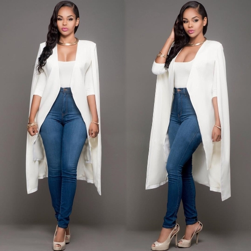 Women Long Cloak Cape Blazer Coat Cardigan Split Jacket Slim Office OL Suit Casual Solid OuterwearApparel &amp; Jewelry<br>Women Long Cloak Cape Blazer Coat Cardigan Split Jacket Slim Office OL Suit Casual Solid Outerwear<br>
