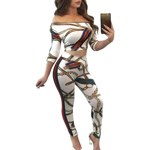 Women Two Pieces Crop Top Pencil Pants Off the Shoulder Geometric Print Slim Casual TrousersApparel &amp; Jewelry<br>Women Two Pieces Crop Top Pencil Pants Off the Shoulder Geometric Print Slim Casual Trousers<br>