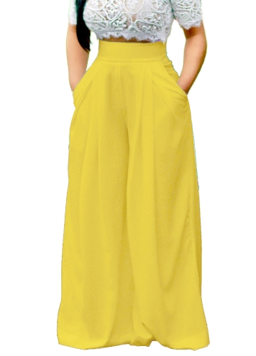 Women Pants Solid Color High Waist Wide Loose Legs Pockets Casual Palazzo Baggy Clubwear TrousersApparel &amp; Jewelry<br>Women Pants Solid Color High Waist Wide Loose Legs Pockets Casual Palazzo Baggy Clubwear Trousers<br>