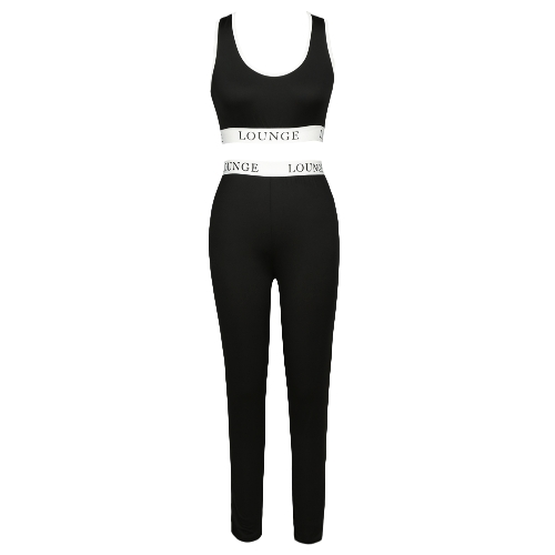 Women Tracksuit Set Slim Fitness Vest Crop Top Letter Racerback High Waist Elastic Pants Workout Suit Two Piece SetApparel &amp; Jewelry<br>Women Tracksuit Set Slim Fitness Vest Crop Top Letter Racerback High Waist Elastic Pants Workout Suit Two Piece Set<br>
