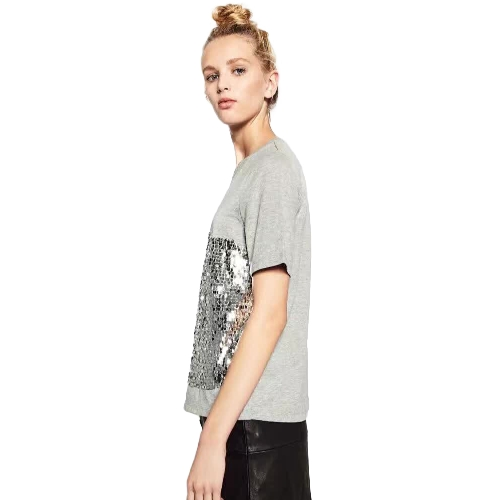 Fashion Women Sequin Sparkles Short Sleeve T-Shirt O Neck Bling Glitters Casual Basic Tee Tops GreyApparel &amp; Jewelry<br>Fashion Women Sequin Sparkles Short Sleeve T-Shirt O Neck Bling Glitters Casual Basic Tee Tops Grey<br>