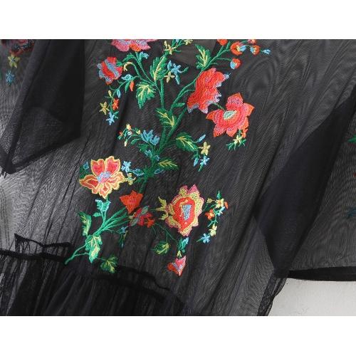 New Sexy Women Embroidery Flower Transparent Maxi Dress Sheer Mesh Side Slit Short Sleeve Dress BlackApparel &amp; Jewelry<br>New Sexy Women Embroidery Flower Transparent Maxi Dress Sheer Mesh Side Slit Short Sleeve Dress Black<br>