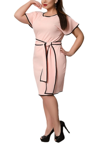 Fashion Women Big Size Butterfly Sleeve Dress Contrast Trim Plus Size Elegant Office Dress with SashesApparel &amp; Jewelry<br>Fashion Women Big Size Butterfly Sleeve Dress Contrast Trim Plus Size Elegant Office Dress with Sashes<br>