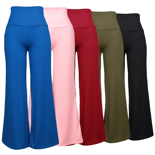 Casual Women High Waist Wide Leg Pants Side Zipper Solid Color Oversize Flare Long Loose Yoga TrousersApparel &amp; Jewelry<br>Casual Women High Waist Wide Leg Pants Side Zipper Solid Color Oversize Flare Long Loose Yoga Trousers<br>