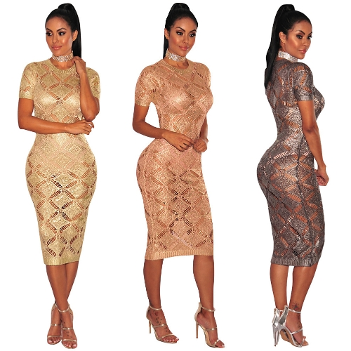 Women Hollow Out Knitted Dress Short Sleeves Sheer See-through Midi Night Club Party DressApparel &amp; Jewelry<br>Women Hollow Out Knitted Dress Short Sleeves Sheer See-through Midi Night Club Party Dress<br>