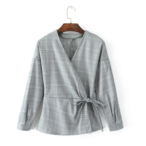 Fashion Women Plaid Checked Shirt V Neck Long Sleeve Cross Front Bandage Slim Blouse Tops GreyApparel &amp; Jewelry<br>Fashion Women Plaid Checked Shirt V Neck Long Sleeve Cross Front Bandage Slim Blouse Tops Grey<br>