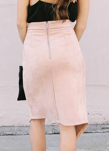 Women Skirts Solid Color Irregular High Waist Elegant Split Pencil Skirt Black/PinkApparel &amp; Jewelry<br>Women Skirts Solid Color Irregular High Waist Elegant Split Pencil Skirt Black/Pink<br>