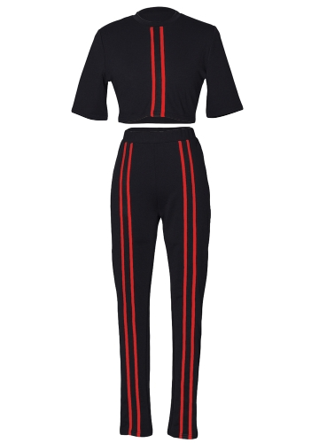 Women Tracksuit Set Short Sleeve Bodycon Slim Sweat Suits Sweatshirt Crop Top Trousers Casual Two Pieces SetApparel &amp; Jewelry<br>Women Tracksuit Set Short Sleeve Bodycon Slim Sweat Suits Sweatshirt Crop Top Trousers Casual Two Pieces Set<br>