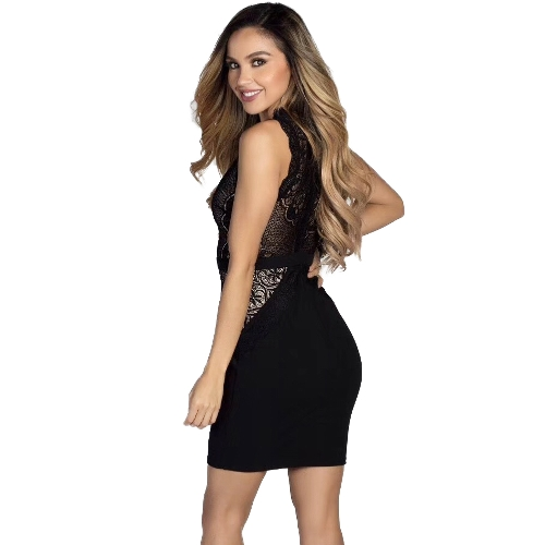 Women Mini Dress Floal Lace Deep V Sleeveless High Waist Scalloped Bodycon Bandage Sexy One-PieceApparel &amp; Jewelry<br>Women Mini Dress Floal Lace Deep V Sleeveless High Waist Scalloped Bodycon Bandage Sexy One-Piece<br>
