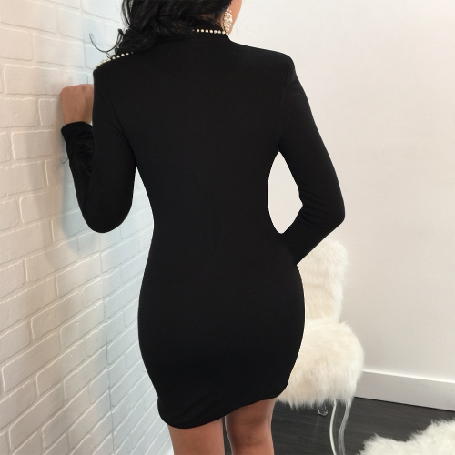 Women Dress Beadings Faux Pearl Plunge V Long Sleeve Bodycon Mini Bandage Sexy Night ClubwearApparel &amp; Jewelry<br>Women Dress Beadings Faux Pearl Plunge V Long Sleeve Bodycon Mini Bandage Sexy Night Clubwear<br>