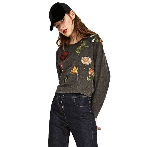 New Women Loose Sweatshirt Floral Embroidery Long Sleeves O-Neck Casual Pullover Crop Top SweaterApparel &amp; Jewelry<br>New Women Loose Sweatshirt Floral Embroidery Long Sleeves O-Neck Casual Pullover Crop Top Sweater<br>