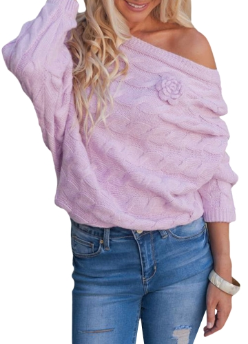 New Women Large Size Knitted Sweater Slash Neck Off the Shoulder Flare Sleeve Top Knitwear Beige/PurpleApparel &amp; Jewelry<br>New Women Large Size Knitted Sweater Slash Neck Off the Shoulder Flare Sleeve Top Knitwear Beige/Purple<br>