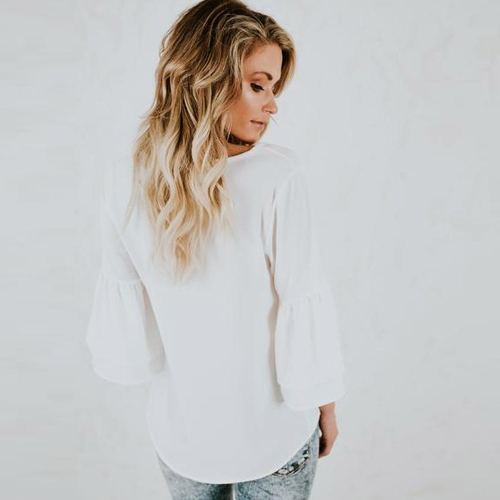 Women Blouse Shirt Top V Neck Ruffles Flare Sleeve Solid Loose Casual Top Black/White/Dark BlueApparel &amp; Jewelry<br>Women Blouse Shirt Top V Neck Ruffles Flare Sleeve Solid Loose Casual Top Black/White/Dark Blue<br>