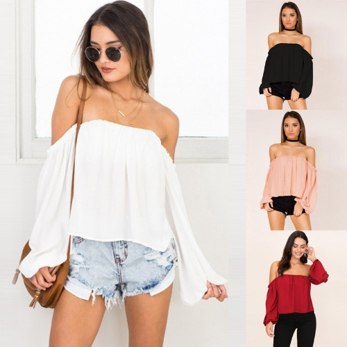 New Sexy Women Off-the-Shoulder Chiffon Blouse Lantern Long Sleeve Casual Solid Shirt T-Shirt TopsApparel &amp; Jewelry<br>New Sexy Women Off-the-Shoulder Chiffon Blouse Lantern Long Sleeve Casual Solid Shirt T-Shirt Tops<br>