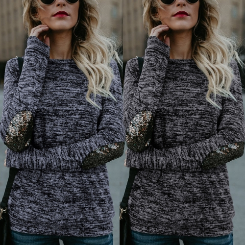 Women Long Sleeve T Shirt Sequin Patch O-Neck Contrast Casual Pullover Tops TeeApparel &amp; Jewelry<br>Women Long Sleeve T Shirt Sequin Patch O-Neck Contrast Casual Pullover Tops Tee<br>