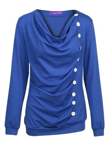 New Fashion Women T-shirt Drape V Neck T-Shirt 10 Buttons Decoration Long Sleeve Tee Tops Pullover