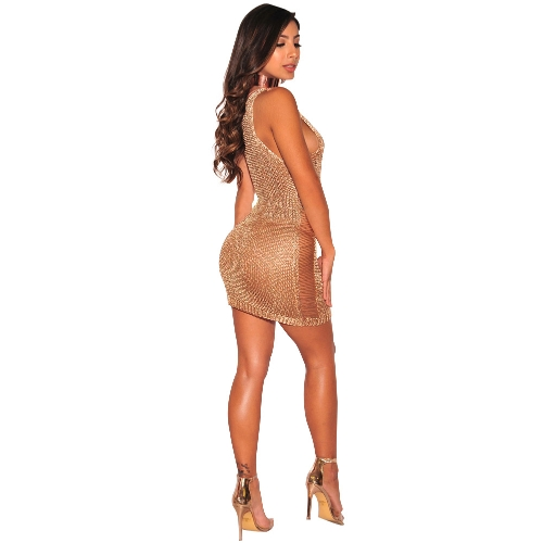 New Sexy Women Knit Bodycon Mini Dress Deep V Neck Hollow Out Sleeveless Clubwear Party Bandage DressApparel &amp; Jewelry<br>New Sexy Women Knit Bodycon Mini Dress Deep V Neck Hollow Out Sleeveless Clubwear Party Bandage Dress<br>