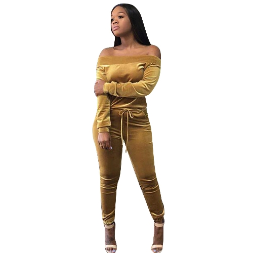 Women Two Piece Set Off Shoulder Tops Pants Velvet Drawstring Long Sleeve Bodycon Sexy Night Clubwear YellowApparel &amp; Jewelry<br>Women Two Piece Set Off Shoulder Tops Pants Velvet Drawstring Long Sleeve Bodycon Sexy Night Clubwear Yellow<br>