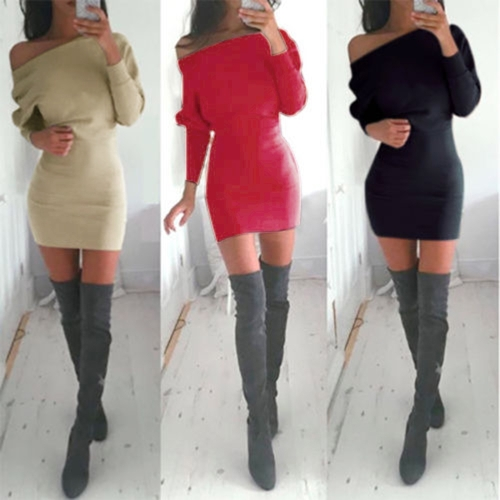 New Fashion Women Casual Dress Solid Long Sleeve Off the Shoulder Boho Long Mini Dress Black/Khaki/Red