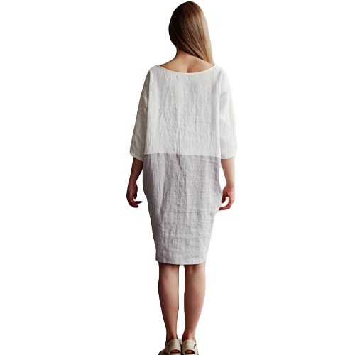 New Casual Women Vintage Oversize Loose Cotton Linen Dress O Neck 3/4 Sleeve Pockets Plus Size Dress WhiteApparel &amp; Jewelry<br>New Casual Women Vintage Oversize Loose Cotton Linen Dress O Neck 3/4 Sleeve Pockets Plus Size Dress White<br>