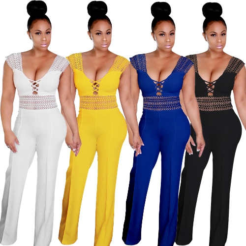 Women Wide Leg Jumpsuit Deep V Neck Hollow Out Crocheted Lace High Waist Casual Playsuit RompersApparel &amp; Jewelry<br>Women Wide Leg Jumpsuit Deep V Neck Hollow Out Crocheted Lace High Waist Casual Playsuit Rompers<br>