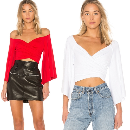 Women Flare Sleeve T Shirt Slash Neck Off the Shoulder Casual Pullover Solid Short Tops Tee Red/WhiteApparel &amp; Jewelry<br>Women Flare Sleeve T Shirt Slash Neck Off the Shoulder Casual Pullover Solid Short Tops Tee Red/White<br>