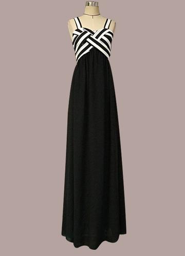 Women Stripe Chiffon Dress Contrast Color Spaghetti Strap Ruffle Long Dress BlackApparel &amp; Jewelry<br>Women Stripe Chiffon Dress Contrast Color Spaghetti Strap Ruffle Long Dress Black<br>