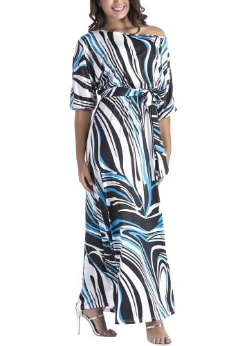 Women Plus Size Dress Zebra Print Off the Shoulder Elastic Waist Belt Half Sleeves Maxi Long DressesApparel &amp; Jewelry<br>Women Plus Size Dress Zebra Print Off the Shoulder Elastic Waist Belt Half Sleeves Maxi Long Dresses<br>