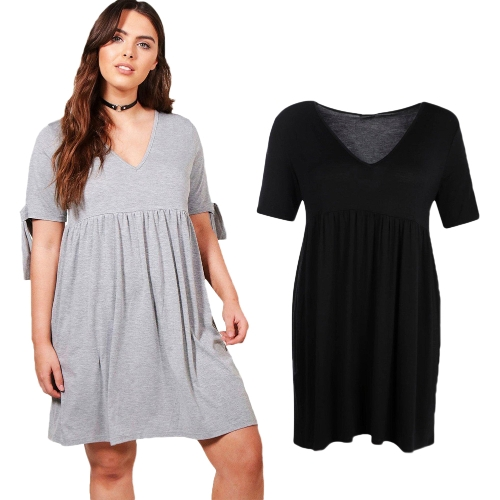 Sexy Women Midi Dress Ruffled Deep V Neck Short Sleeve Solid Slim Bodycon Ruched Dress Black/GreyApparel &amp; Jewelry<br>Sexy Women Midi Dress Ruffled Deep V Neck Short Sleeve Solid Slim Bodycon Ruched Dress Black/Grey<br>