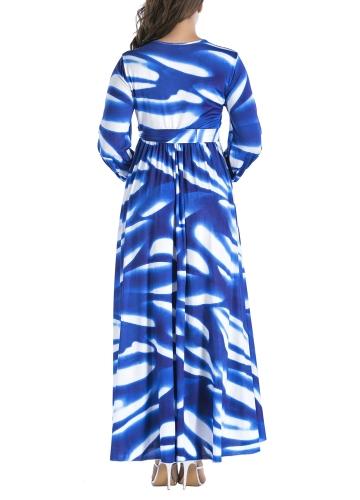 Women Pleated Maxi Dress in Print V-Neck Long Sleeve High WaistApparel &amp; Jewelry<br>Women Pleated Maxi Dress in Print V-Neck Long Sleeve High Waist<br>