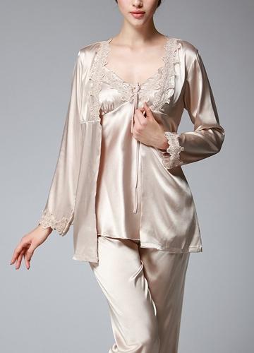 Women Silk Satin Night Robe Set Badydoll Pants Kimono Bathrobe Nightgown SleepwearApparel &amp; Jewelry<br>Women Silk Satin Night Robe Set Badydoll Pants Kimono Bathrobe Nightgown Sleepwear<br>