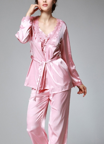 Women Silk Satin Night Robe Set Badydoll Pants Kimono Bathrobe Nightgown SleepwearApparel &amp; Jewelry<br>Women Silk Satin Night Robe Set Badydoll Pants Kimono Bathrobe Nightgown Sleepwear<br>