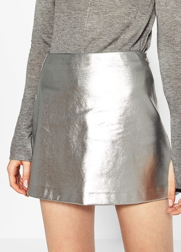 Women Skirt PU Metallic Mini A-Line Side ZipperApparel &amp; Jewelry<br>Women Skirt PU Metallic Mini A-Line Side Zipper<br>