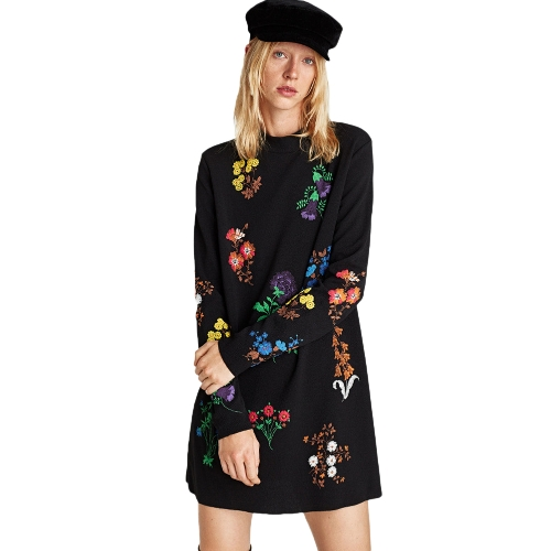 Sexy Women Mini Dress Floral Embroidery Round Neck Long Sleeve Casual Slim Boho Dress BlackApparel &amp; Jewelry<br>Sexy Women Mini Dress Floral Embroidery Round Neck Long Sleeve Casual Slim Boho Dress Black<br>