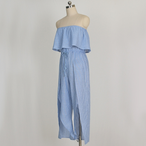 Women Striped Jumpsuit Off Shoulder Rompers Ruffle Boho Beach Casual Overalls Playsuit BlueApparel &amp; Jewelry<br>Women Striped Jumpsuit Off Shoulder Rompers Ruffle Boho Beach Casual Overalls Playsuit Blue<br>