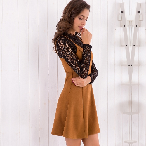 New Women Fake Two Piece Set Dress Suede Lace Splice Contrast Color Office Lady Mini Dress BrownApparel &amp; Jewelry<br>New Women Fake Two Piece Set Dress Suede Lace Splice Contrast Color Office Lady Mini Dress Brown<br>