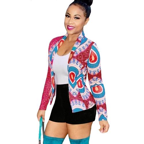 Vintage Women Coat Print Long Sleeves Notched Retro Short Outwear JacketApparel &amp; Jewelry<br>Vintage Women Coat Print Long Sleeves Notched Retro Short Outwear Jacket<br>