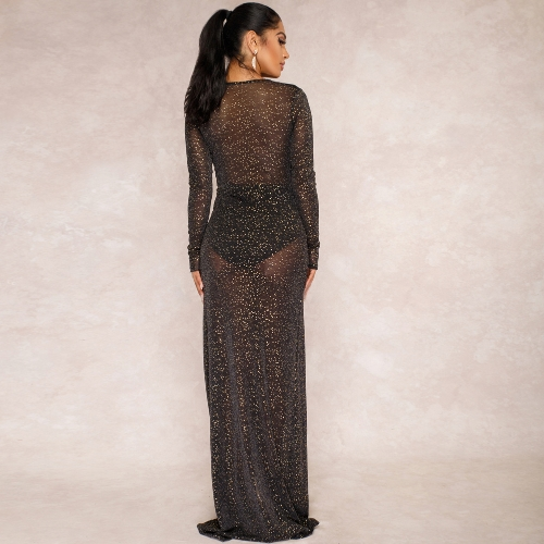 Sexy Women Sheer Rhinestone Glitter Maxi Dress Deep V Neck Front Split Long Sleeve Clubwear Formal Long Dress BlackApparel &amp; Jewelry<br>Sexy Women Sheer Rhinestone Glitter Maxi Dress Deep V Neck Front Split Long Sleeve Clubwear Formal Long Dress Black<br>