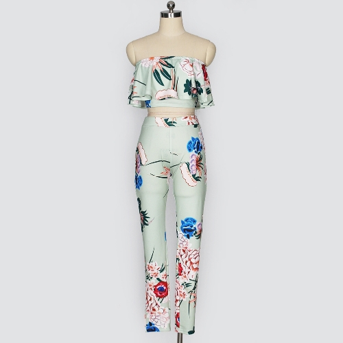 Fashion Women Two Piece Set Floral Print Ruffle Off Shoulder Backless High Waist Bodycon Crop Top and Pants OutfitsApparel &amp; Jewelry<br>Fashion Women Two Piece Set Floral Print Ruffle Off Shoulder Backless High Waist Bodycon Crop Top and Pants Outfits<br>
