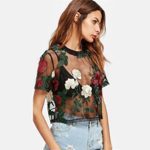 Sexy Women Sheer Mesh Top Flower Embroidered Short Sleeve Blouse Green/RoseApparel &amp; Jewelry<br>Sexy Women Sheer Mesh Top Flower Embroidered Short Sleeve Blouse Green/Rose<br>