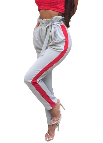 Women Casual Long Pants Striped High Waist Bandage Slim Harem Trousers Black/GreyApparel &amp; Jewelry<br>Women Casual Long Pants Striped High Waist Bandage Slim Harem Trousers Black/Grey<br>