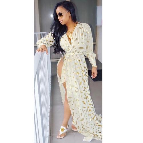 Women Feather Print Long Sleeve Split Robe Party Maxi Dress Elegant Long Dress BeigeApparel &amp; Jewelry<br>Women Feather Print Long Sleeve Split Robe Party Maxi Dress Elegant Long Dress Beige<br>
