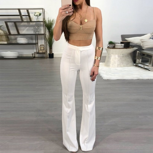 Fashion Women Bell Bottom Pants Elastic High Waist Solid Casual TrousersApparel &amp; Jewelry<br>Fashion Women Bell Bottom Pants Elastic High Waist Solid Casual Trousers<br>