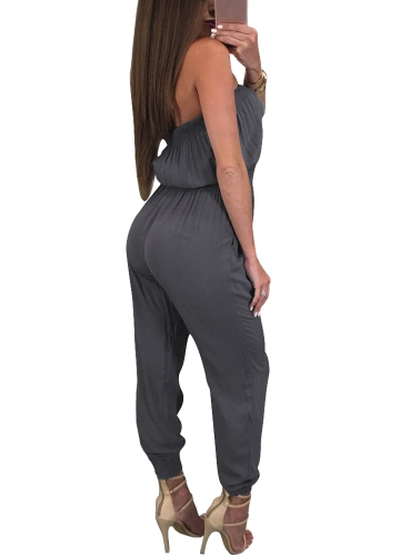 Women Off Shoulder Jumpsuit Rompers Backless Casual Long Trousers Slash Neck Overalls Playsuit Black/GreyApparel &amp; Jewelry<br>Women Off Shoulder Jumpsuit Rompers Backless Casual Long Trousers Slash Neck Overalls Playsuit Black/Grey<br>