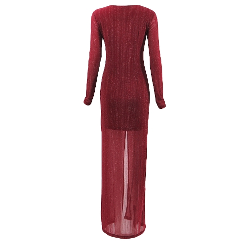 New Sexy Women Front Split Maxi Dress Deep V Neck Long Sleeve Formal Party Long Dress Black/RedApparel &amp; Jewelry<br>New Sexy Women Front Split Maxi Dress Deep V Neck Long Sleeve Formal Party Long Dress Black/Red<br>