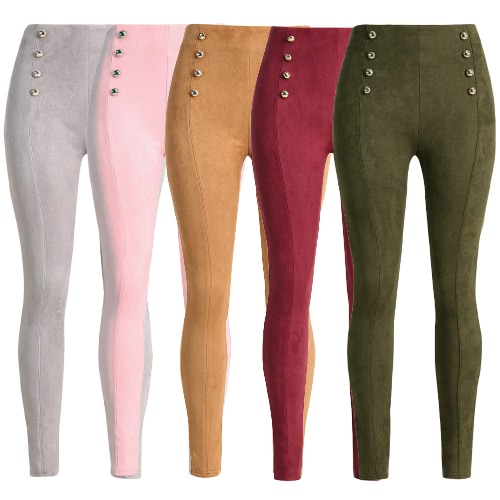 Sexy Women Slim Faux Suede Leggings Trousers Solid Buttons Side Zipper Elegant Fitness Skinny Pencil PantsApparel &amp; Jewelry<br>Sexy Women Slim Faux Suede Leggings Trousers Solid Buttons Side Zipper Elegant Fitness Skinny Pencil Pants<br>