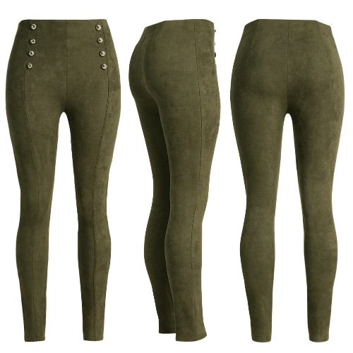 Sexy Women Slim Faux Suede Leggings Trousers Solid Buttons Side Zipper Elegant Fitness Skinny Pencil PantsApparel &amp; Jewelry<br>Sexy Women Slim Faux Suede Leggings Trousers Solid Buttons Side Zipper Elegant Fitness Skinny Pencil Pants<br>