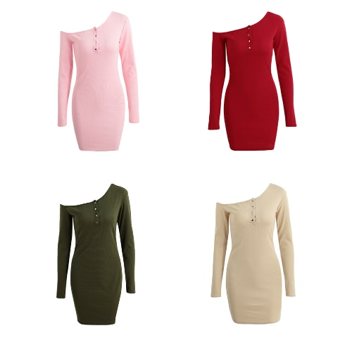 New Sexy Women Bodycon Knitted Dress Off Shoulder Button Long Sleeves Stretchy Sheath Mini DressApparel &amp; Jewelry<br>New Sexy Women Bodycon Knitted Dress Off Shoulder Button Long Sleeves Stretchy Sheath Mini Dress<br>
