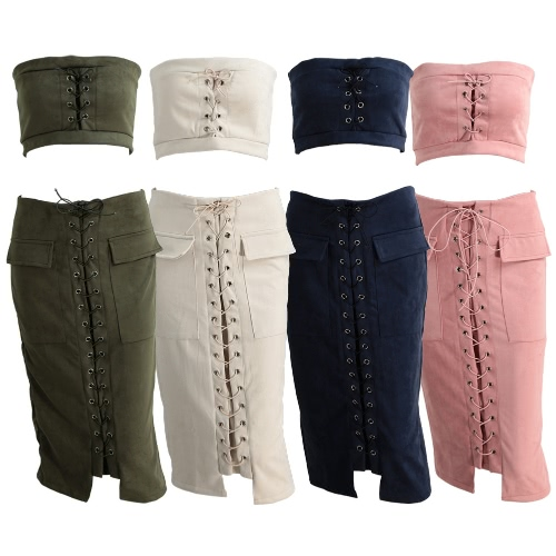 Fashion Women Lace Up Suede 2PCS Set Bandeau Top Midi Skirt High Waist Vintage Pocket Slit Back Preppy Bodycon SuitsApparel &amp; Jewelry<br>Fashion Women Lace Up Suede 2PCS Set Bandeau Top Midi Skirt High Waist Vintage Pocket Slit Back Preppy Bodycon Suits<br>